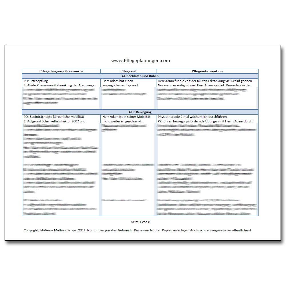 Pflegeplanung Pflegediagnosen PESR Pneumonie Bettl\u00e4gerig