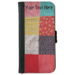 fun colorful patchchwork fabric retro design iPhone 6 wallet case