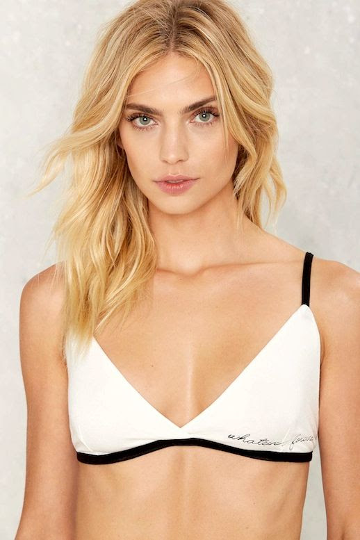 Le Fashion Blog Blonde Wavy Hair Budget Friendly Black And White Embroidered Whatever Forever Bra Via Nastygal