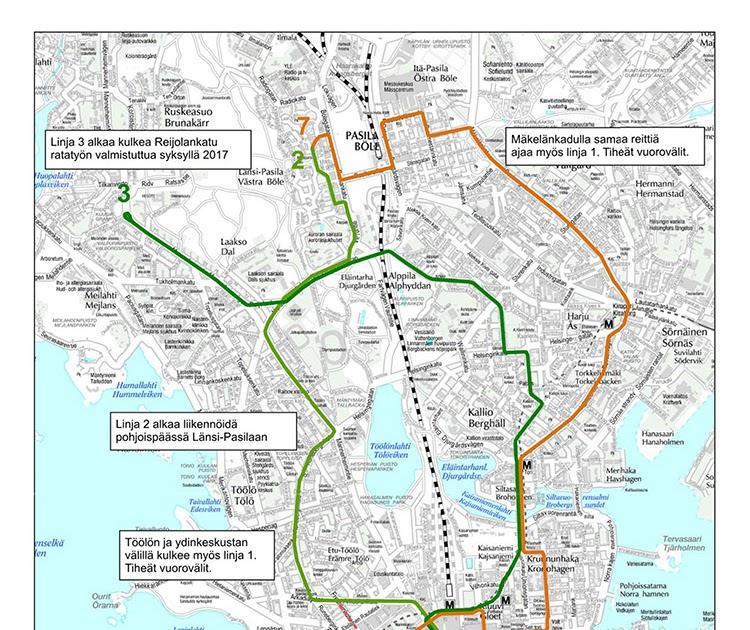 Helsinki Raitiovaunukartta