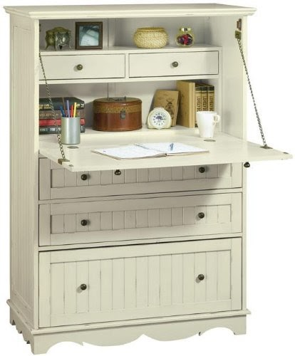 Best Buy Bedroom Furniture: French Country Deluxe Secretary Desk, FIVE-DRAWER, ANTIQUE