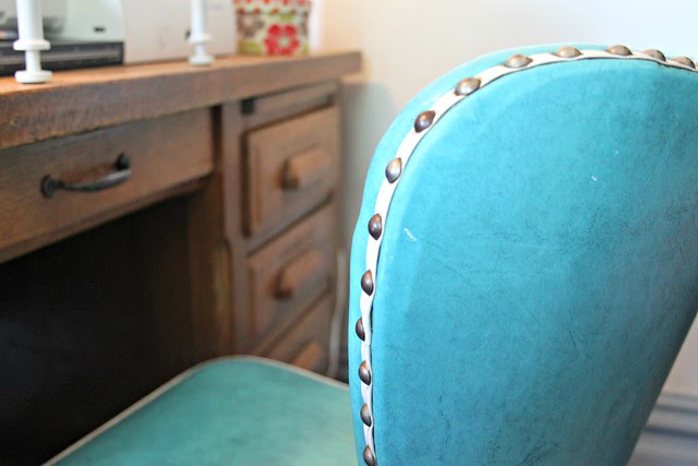 New sewing chair -- aqua blue with nail head trim