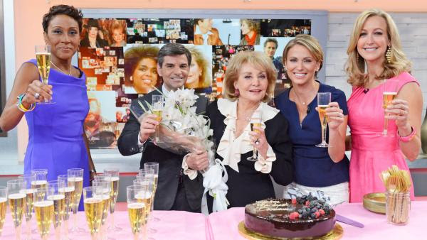 Robin Roberts, George Stephanopoulos, Barbara Walters, Amy Robach and Lara Spencer appear on Good Morning America on May 16, 2014. - Provided courtesy of ABC/Ida Mae Astute