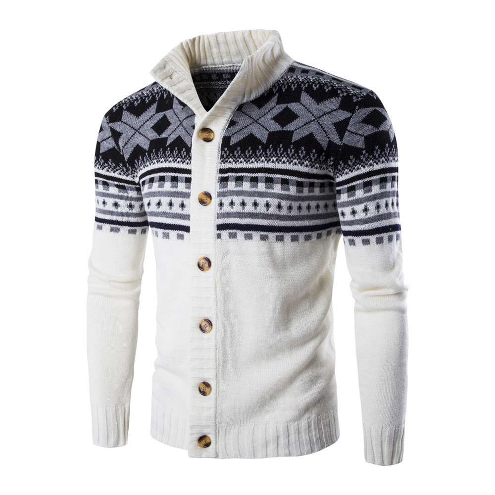 Men's Christmas Print Thick Sweater Long Sleeve Men Sweater Slim Winter Warm Sweaters Men's Cardigan Sweater