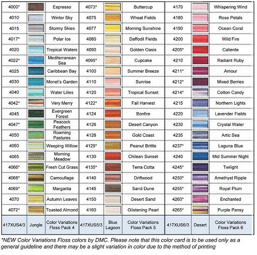 Dmc Color Chart Gallery Of Chart 2019