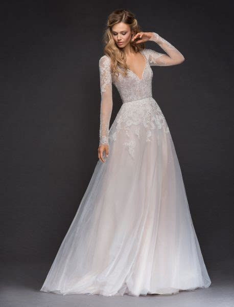 Sweetheart Long Sleeve Beaded Lace A lne Wedding Dress