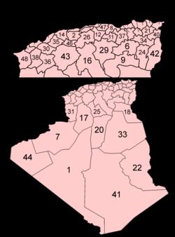Bản đồ các tỉnh Algérie theo thứ tự chữ cái