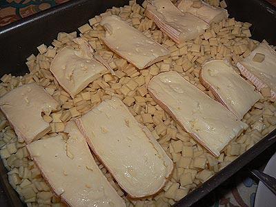 crozets + fromage dans plat
