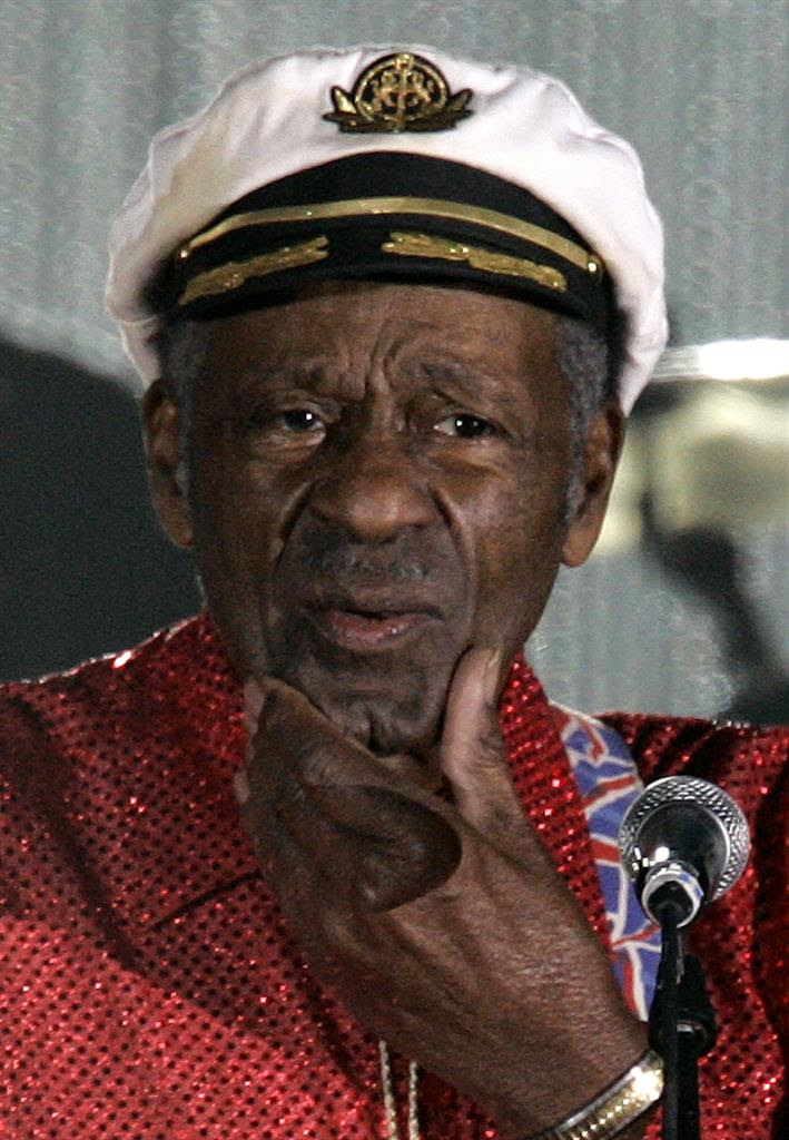 "In this Saturday, March 28, 2009 file photo, American guitarist, singer and songwriter Chuck Berry appears at the ""Rose Ball"" in Monaco. On Saturday, March 18, 2017, police in Missouri said Berry has died at age 90."