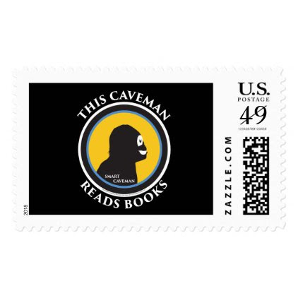 $0.49 Large Postage Stamps Read Smart Caveman