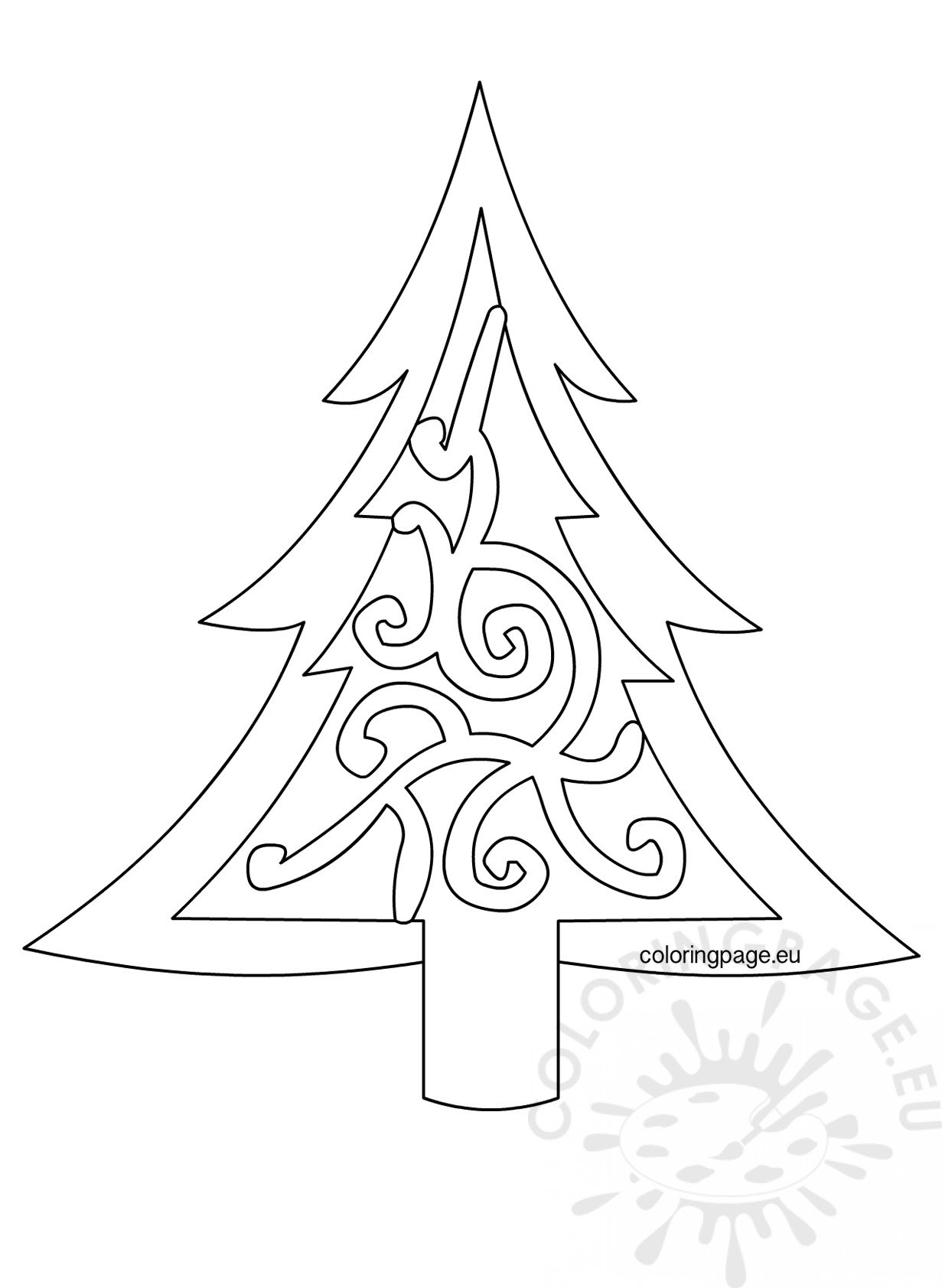 Xmas tree template printable - Coloring Page