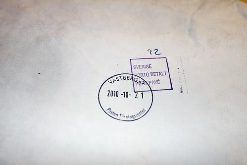 Poststempel Västberga Stockholm 210-10-21