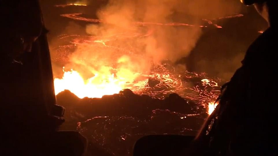Members of the National Guard released stunning aerial footage of the Kilauea volcano Tuesday morning as the lava flow neared the Puna Geothermal Venture power plant. Production wells at the plant were finally plugged on Wednesday to prevent toxic gases from seeping out