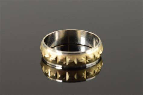 engraved diamond star  tone mens wedding band