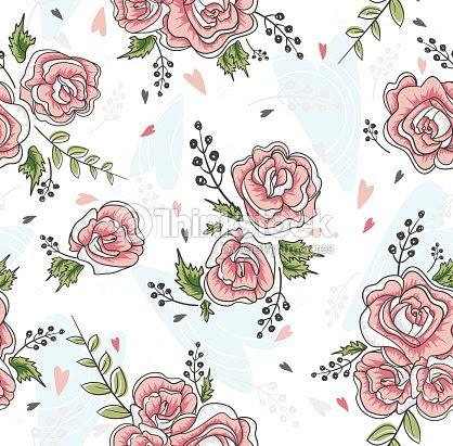 Linda Sin Costuras Rosas Vintage Patron Fondo Con Flores Y Corazones