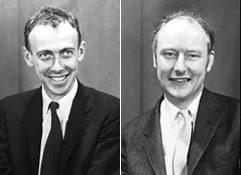 J. Watson y F. Crick (derecha)