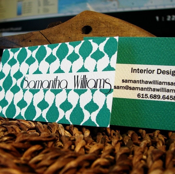 double sided solid ikat with white block calling cards set (50)