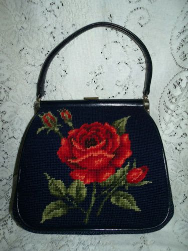 50s 60s Hand Needlepoint Purse