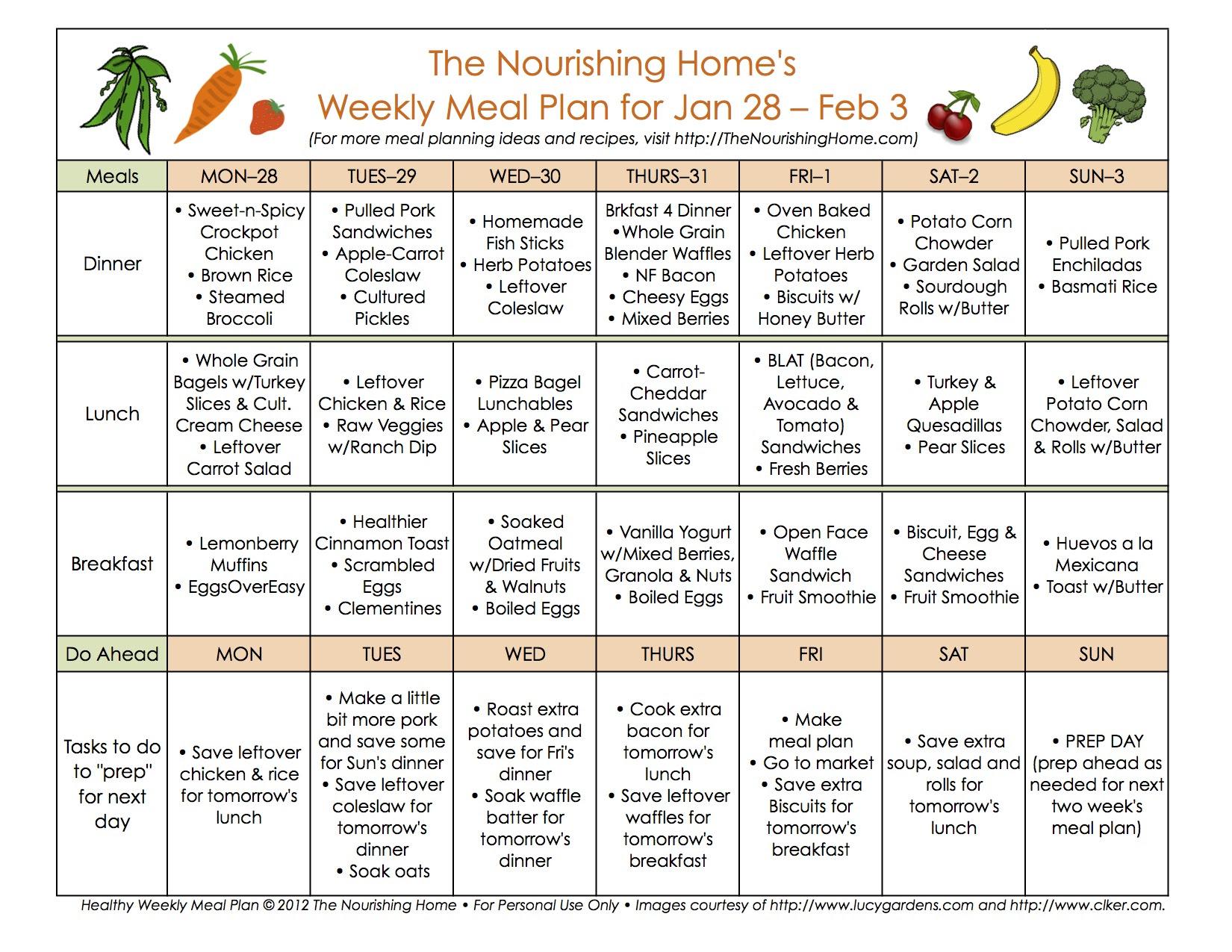Meal Plan Monday: January 21 - February 3 - The Nourishing ...