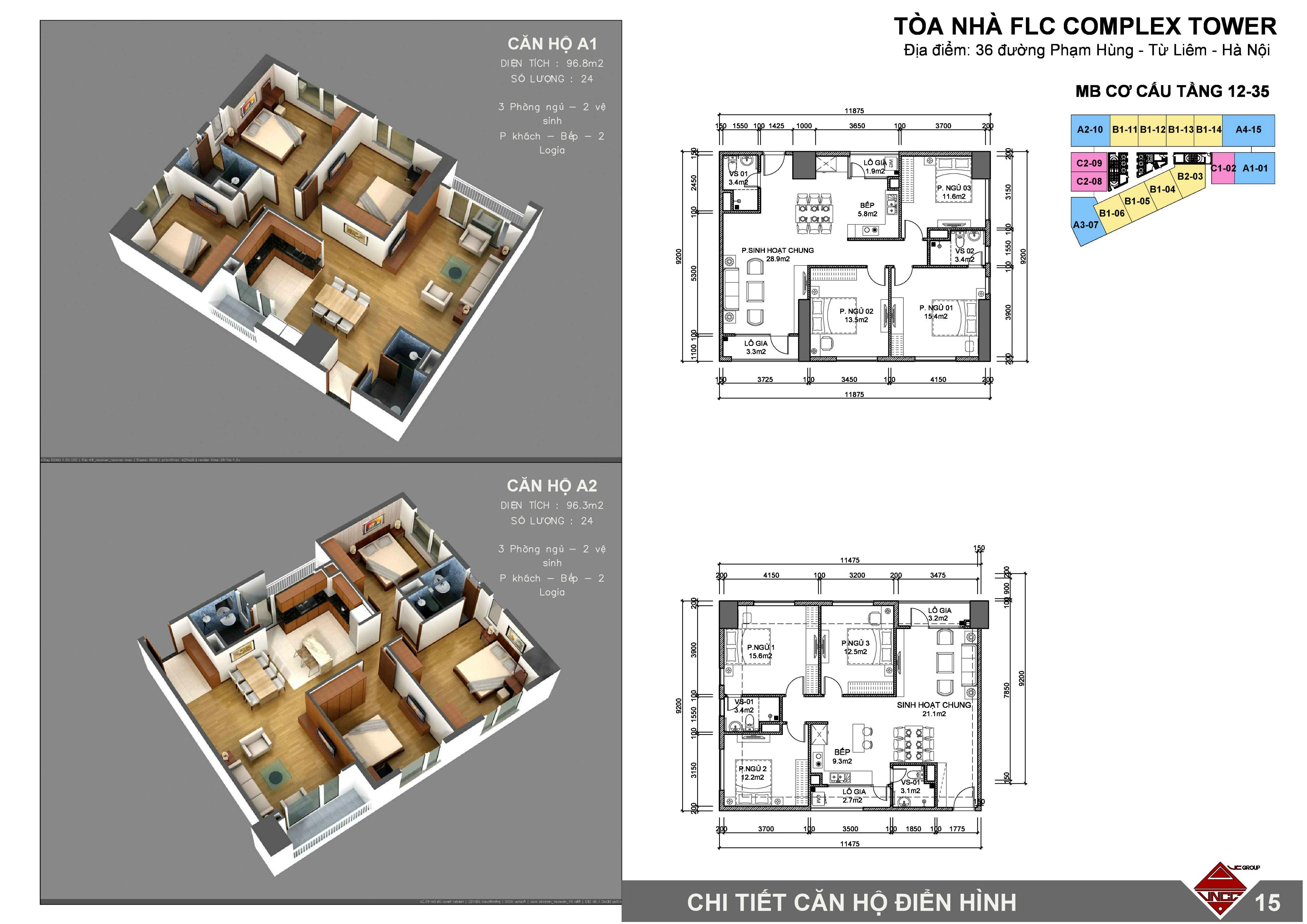 Thiết kế căn hộ FLC Phạm Hùng