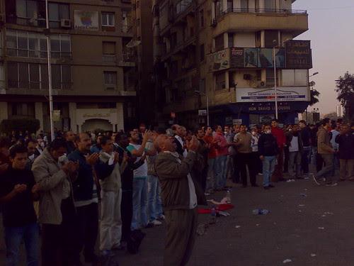 Demonstartors Prayng in Galae Square, Cairo