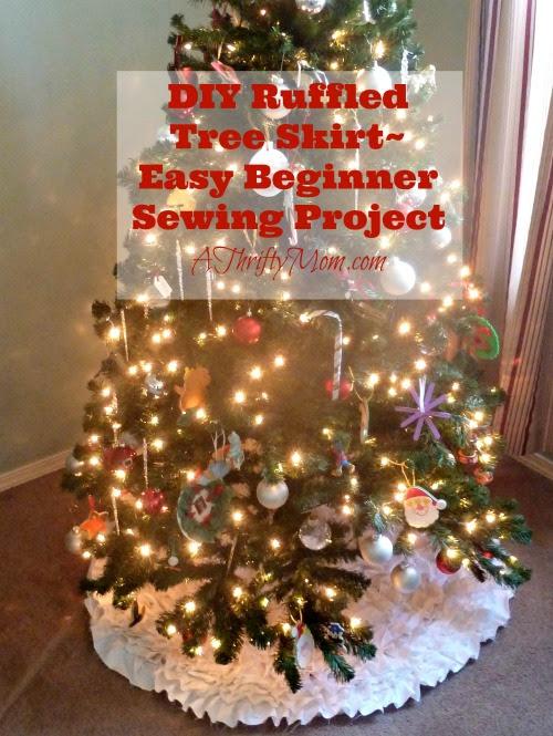 Diy Ruffled Tree Skirt Treeskirtchristmaseasydiy Easy