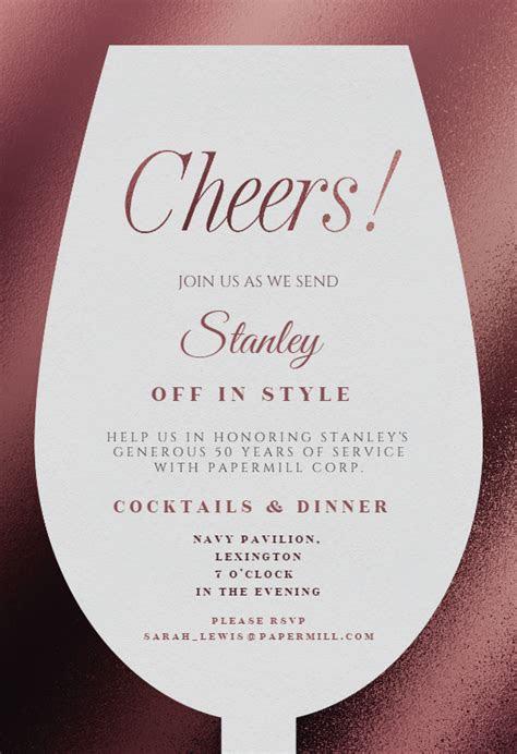 wine glass retirement farewell party invitation