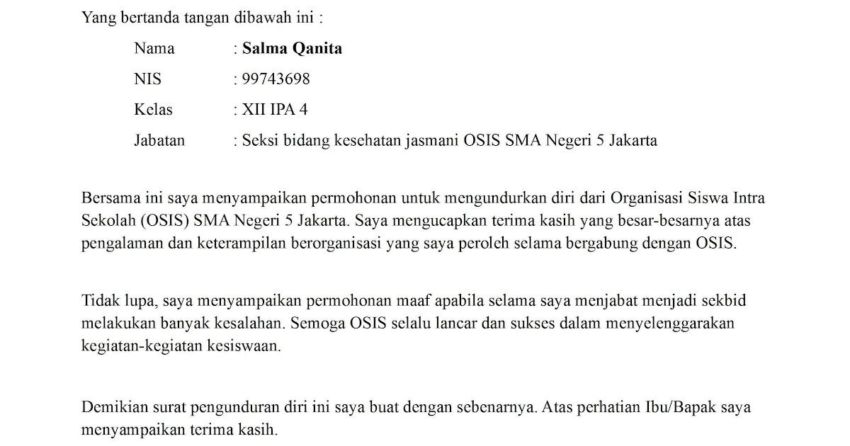 Contoh Surat Pengunduran Diri Dari Organisasi Mapala