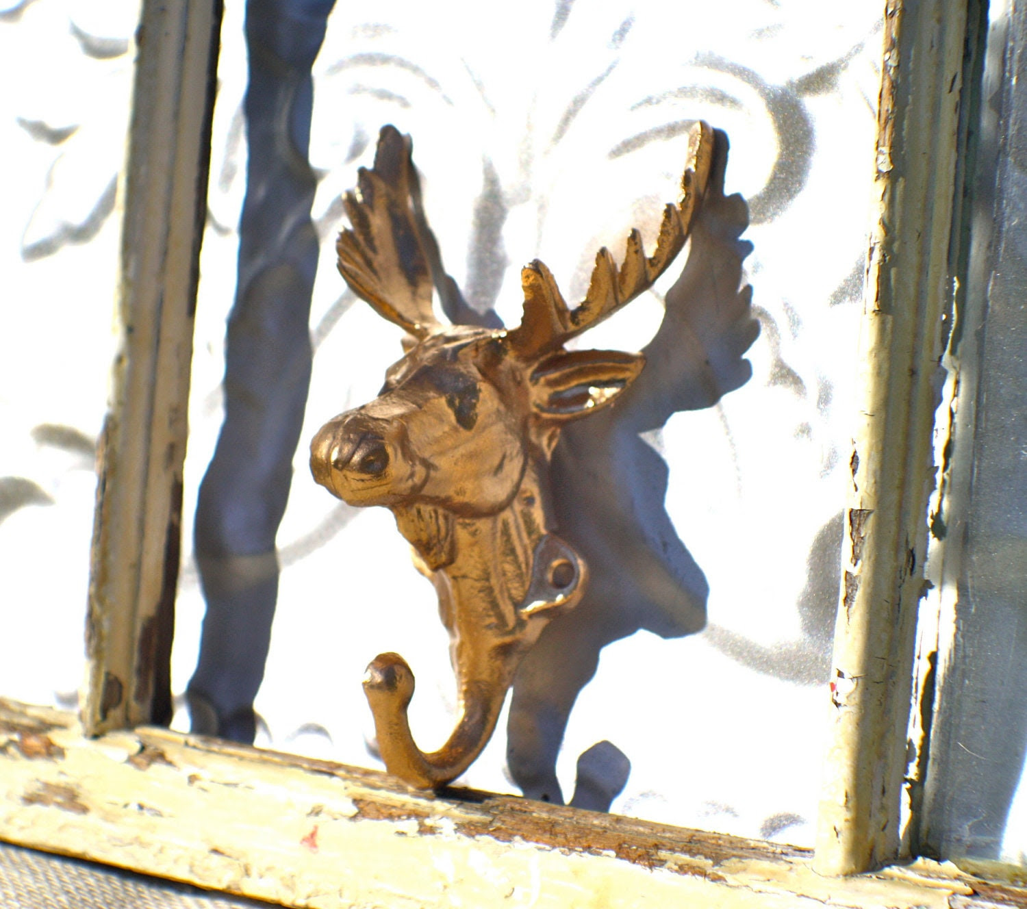 Moose Head Hook/ Gold Bath Hook/ Wall by MichelleLisaTreasure