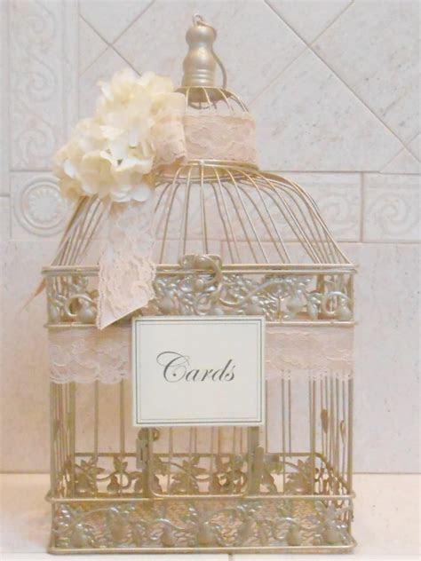 Large Birdcage Wedding Card Holder / Champagne Gold