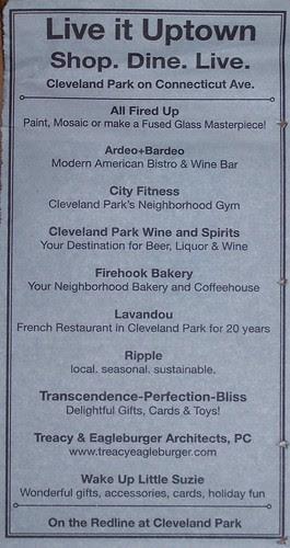 Commercial district newspaper ad promotion, Cleveland Park, Northwest Washington, DC, Northwest Current community newspaper, 11/16/2011