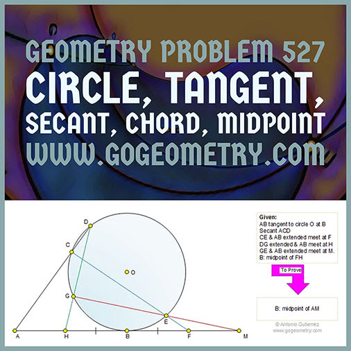 Geometry Problem 527: Circle, Tangent, Secant, Chord, Midpoint, Measurement, Typography, iPad Apps.