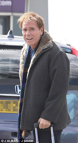 Sir Cliff looking weary and haunted (pictured) made a fleeting 24-hour visit to Britain earlier this month