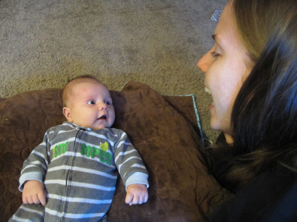 I love this picture! He knows who is momma is!