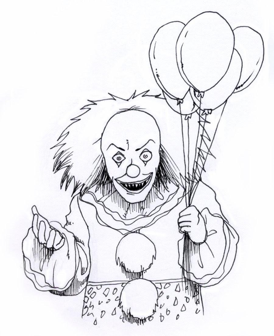 horror clown zum ausmalen  malvorlagen