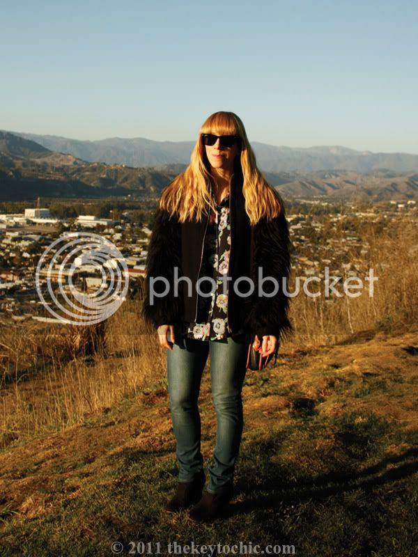 Zara faux fur jacket, gorilla sleeves, Mossimo Kacey boots, southern California fashion blog, Los Angeles fashion blogger