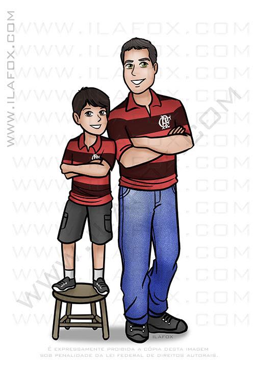 caricatura desenho, caricatura personalizada, caricatura pai e filho, caricatura família,