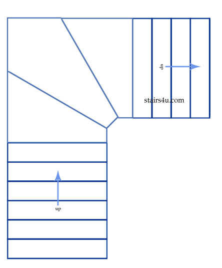 L Shaped Winder Stairs Design
