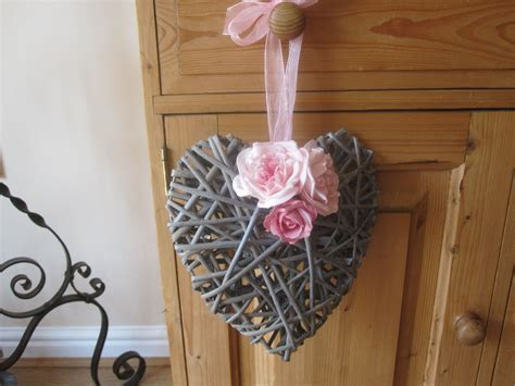"Wicker Heart with pink flowers 9 "". Ideal for wedding or"