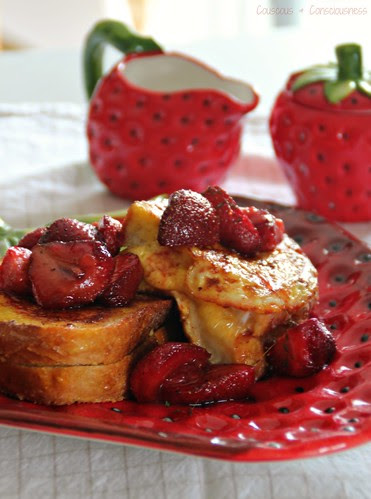 Orange Mango French Toast with Honey Roasted Strawberry Compote1