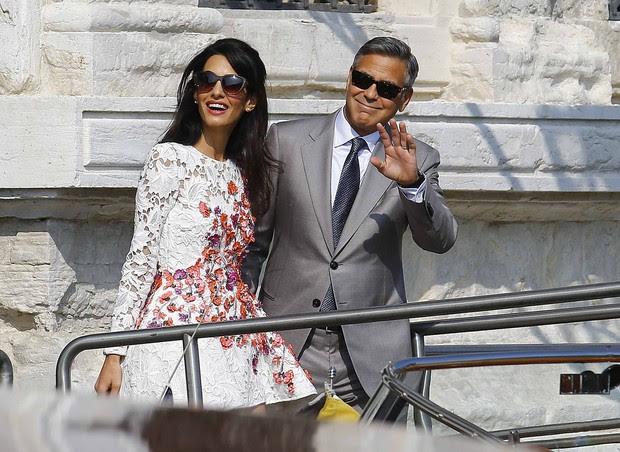 George Clooney e Amal Alamuddin em Veneza (Foto: Reuters)