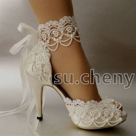 """Details about su.cheny 3"""" 4? heel white ivory satin lace"""
