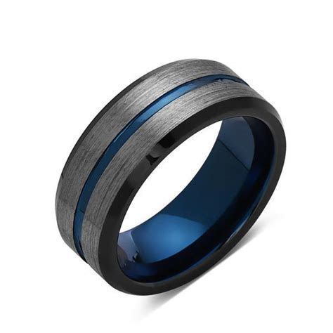 Blue Tungsten Wedding Band   Gray Brushed Tungsten Ring