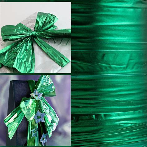 Emerald Green Metallic Foil Ribbon, Christmas Ribbons