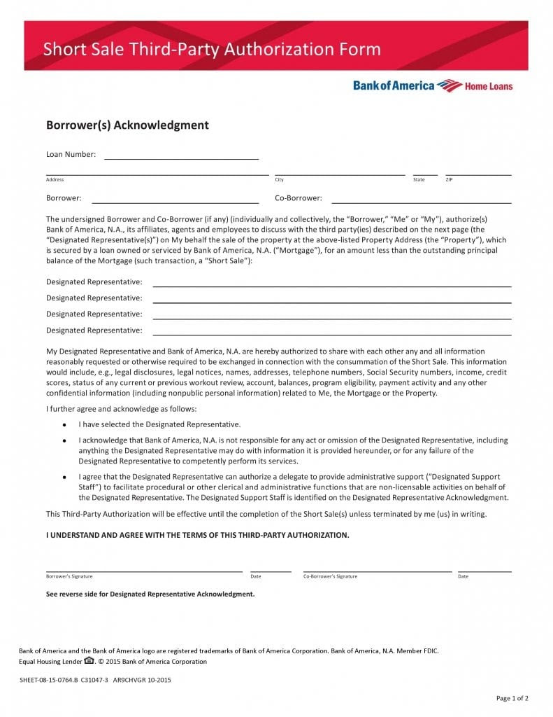 Free Bank of America Third Party Authorization Form   PDF Template ...