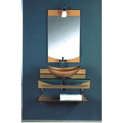 floating shelf under bathroom sink