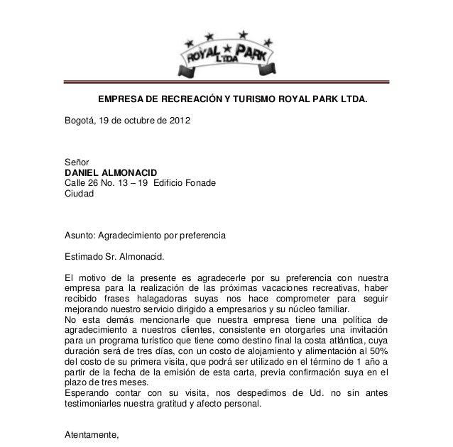 Carta De Agradecimiento A Clientes De Un Hotel J Carta De
