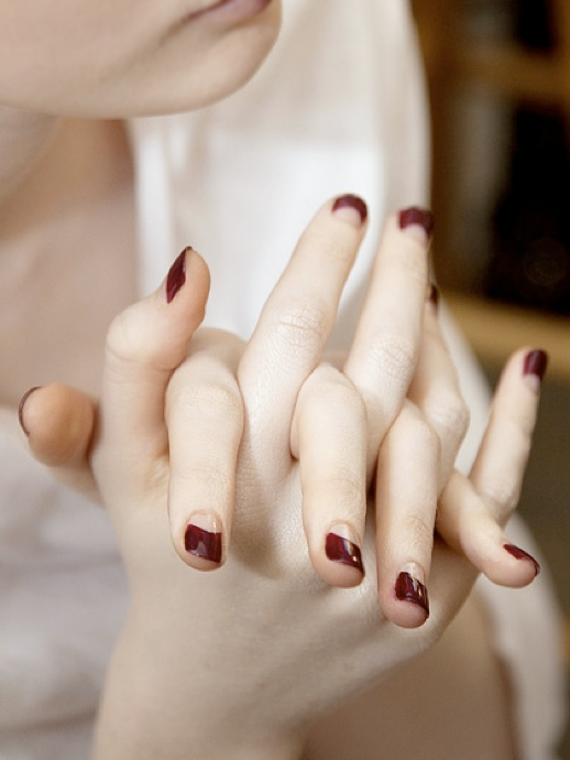 LE FASHION BLOG BEAUTY POST BURGUNDY BEAUTY HALF MOON MANICURE OSCAR DE LA RENTA FALL OSCAR DELA RENTA COVET NAIL POLISH SHOW backstage photo LEFASHIONBLOGBEAUTYPOSTBURGUNDYBEAUTYHALFMOONMANICUREOSCARDELARENTA.png