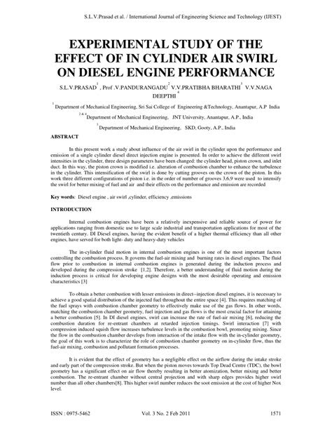 (PDF) EXPERIMENTAL STUDY OF THE EFFECT OF IN CYLINDER AIR