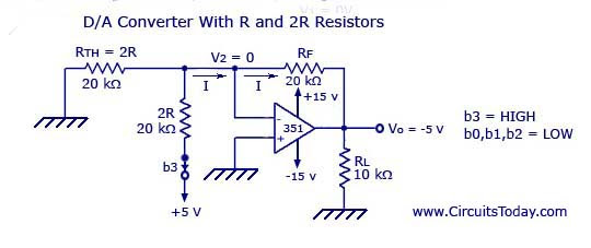 Digital to Analog Converter with R and 2R Resistors - Resultant Circuit